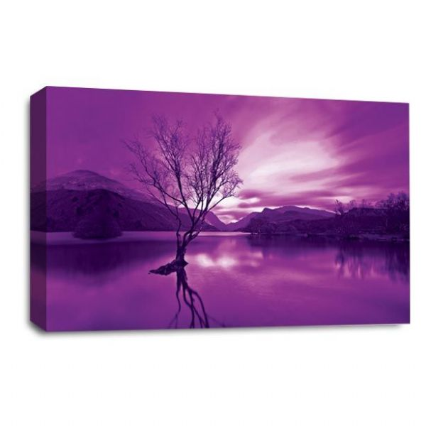 Landscape Wall Art Picture Print Purple Cream Mountains Lake